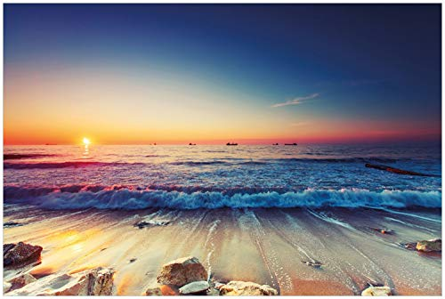 Wallario Glasbild Sonnenuntergang am Meer mit Wellen am Strand - 60 x 90 cm in Premium-Qualität: Brillante Farben, freischwebende Optik
