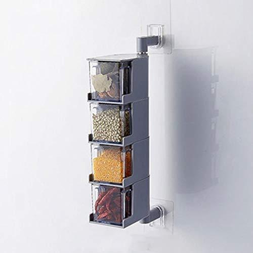 Hogar rotativo de pared sin perforación Caja de condimento transparente Gris, Tamaño: Cuatro cuadrículas Conjunto de cruets Leyue