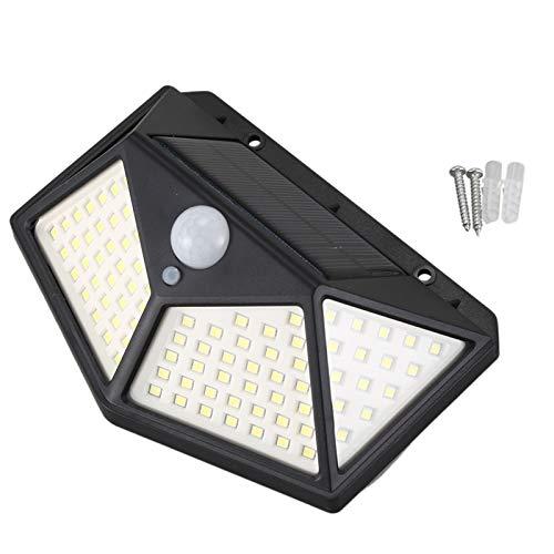 YDong 100 LED Lámpara de pared con energía solar, control inteligente de detección de luz 120 grados PIR sensor de movimiento, lámpara de jardín resistente al aire libre