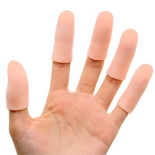 Bukihome Fingerschutz Silikon, [12x] Gel-Fingerlinge, Fingerhülsen die für Triggerfinger, Handekzem, Finger-Knacken, Fingerarthritis