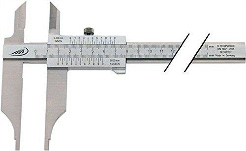 Werkstattmessschieber DIN862 200mm m.Spitzen parallaxfrei Schnabel-L.80mm