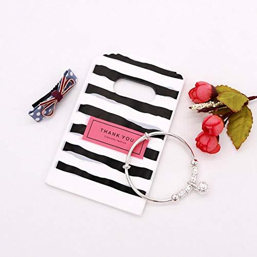 50 unids/lote, bolsa de plástico pequeña de múltiples diseños, 9x15 cm, regalo de Boutique con asas, bonitos dijes, pendientes, bolsas de embalaje de joyería-D33