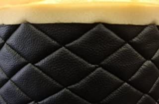 "Black Quilted Vinyl Fabric with 3/8"" Foam Backing Upholstery By the Yard (F.E."