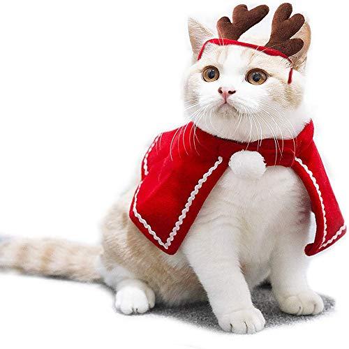 Abnaok Kleines Hundekostüm Weihnachten Rentier Geweih Mütze, Katze Hund Headwear Weihnachts-Kostüm für Katzen und Hunde