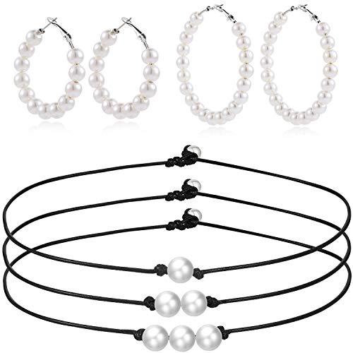 Hicarer Juego de Joya de Pendientes Collar Gargantilla de Perla de Mujer Pendientes de Aro Gargantilla de Perla de Cuero