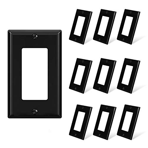 ELEGRP Decorative Receptacle Wall Plate, 1-Gang Standard Size Outlet Decorator Cover, Unbreakable Polycarbonate Dual Port Faceplates Covers, UL Listed, Screws included (10 Pack, Glossy Black)