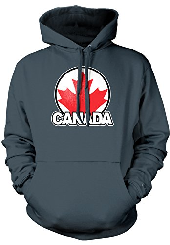 Amdesco Men's Canada Maple Leaf, Canadian Pride Hooded Sweatshirt, Charcoal Gray Medium