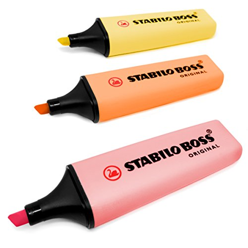 STABILO BOSS Evidenziatori Stabilo Boss color pastello, originali, set di 3, rosa, pesca e giallo