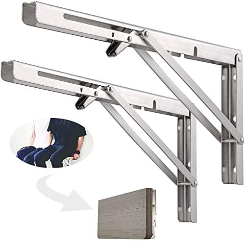 Soportes de estante plegables profesionales de 10 in, 2 piezas de soporte plegable de acero inoxidable resistente, soportes resistentes para banco de trabajo montado en la pared para ahorrar espacio