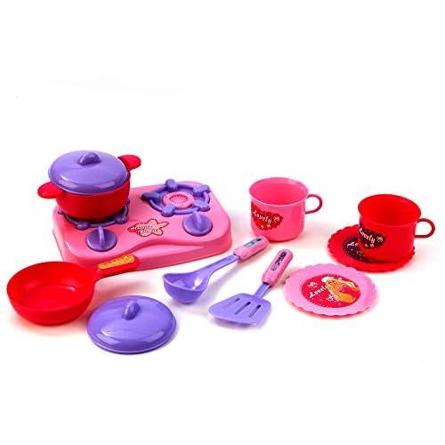 Set Cucina Per Bambine 11 Pezzi Con Piano Cottura Stoviglie Pentole Accessori Gioco Bambine