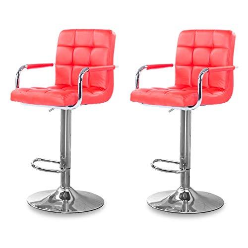 CHY Giratoria Taburetes Juego De 2 Ajustable Taburete con Respaldo Silla De Cuero De La PU De Metal For La Cocina Casera De Interior (Color : Red, Size : Bar stools Set of 2)