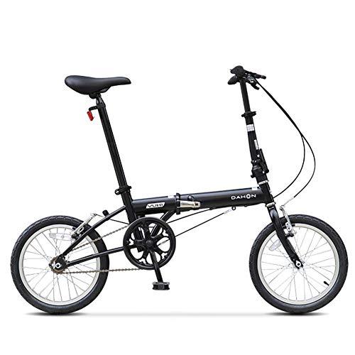 16' Mini Bicicletta Pieghevole, Adulto Uomo Donna Leggera Bici da Cittagrave; Pieghevole, Single Speed elaio in Acciaio al Carbonio Biciclette,Nero