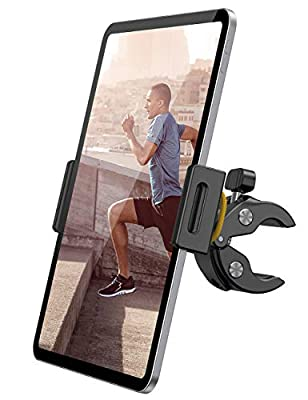 "Lamicall Exercise Bike Tablet Holder, Treadmill Exercise Gym Tablet Mount - Adjustable Indoor Handlebar Bracket for iPad Pro 9.7, 10.5, 12.9, Air mini 2 3 4, iPhone, Samsung Tab, other 4.7-13"" Tablets"