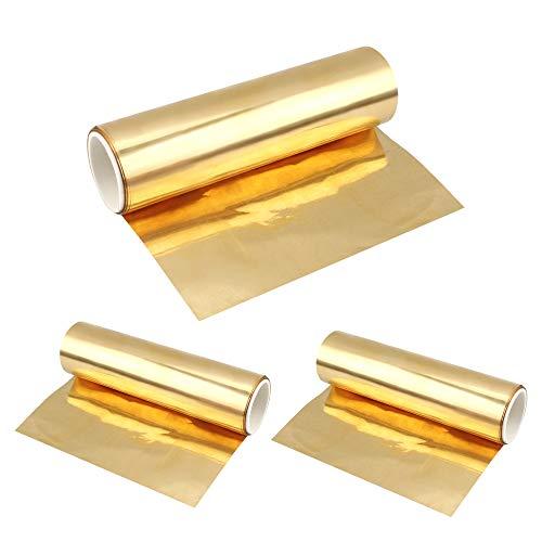 Huayue 3Rollos Latón Placa de Metal de Latón Láminas de Latón Hoja de Latón Metal Hoja para Trabajar el Metal DIY, 0.02 x 100 x 1000 mm