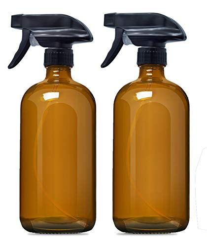 Empty Amber Glass Spray Bottles (2 Pack),16 oz Refillable Container for Essential Oils, Cleaning Products, or Aromatherapy