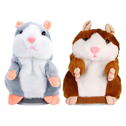 TOYANDONA 2Pcs Reden Hamster Plüsch Tier Spielzeug Wiederholt was Sie Sagen Reden Spielzeug Elektronische Aufzeichnung Hamster Maus Interaktive Gefüllte Plüsch Spielzeug für Kinder