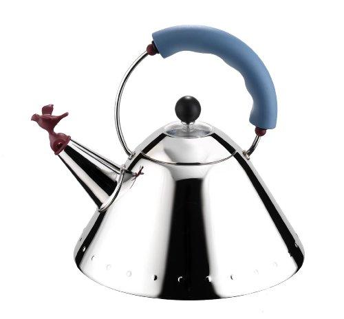 Alessi 9093 Bollitore con Manico e Fischietto a Uccellino di Design in Acciaio Inox, Azzurro