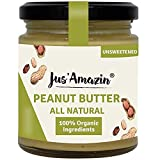 Jus' Amazin Creamy Organic Peanut Butter All Natural - Unsweetened (200g) | 100% Organic Ingredients, Vegan, Gluten Free & Keto