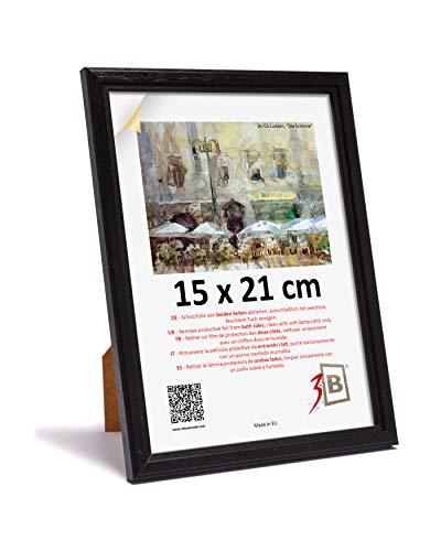 3-B Bilderrahmen JENA - schwarz - 15x21 cm (A5) - Holzrahmen, Fotorahmen, Portraitrahmen mit Plexiglas