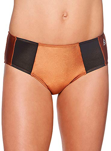 Reebok Lifestyle Women's Swimwear Copper Mesh Modern Brief Bathing Suit Bottom, Copper, XL