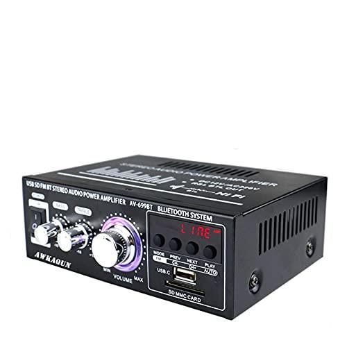Mini Amplificador Bluetooth, 2.0 Canales HiFi Stereo Bluetooth Amplificador aAudio 400W, Bluetooth Inalámbrico BT Altavoces, Entrada de Tarjeta USB / SD, para Casa Altavoces, Amplificador Coche, TV