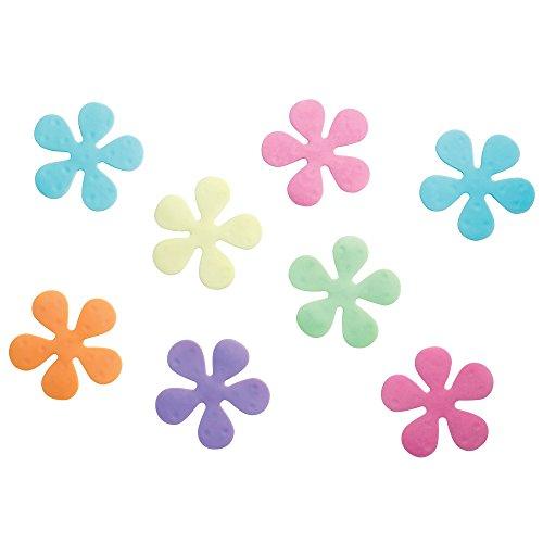 iDesign 30226 Floral Plastic Non-Slip Safety Tub Treadz for Shower, Bathtub , 4 x 4, Set of 8, Multi-Colored