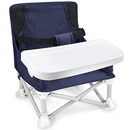 Mosbaby Kindersitz Babystuhl mit abnehmbarem Tablett, Tragbarer Reisen Boostersitz Sitzerhöhung für den Innen-/Außenbereich, Faltbarer Kinderstuhl zum Essen und Spielen, für Baby 6-36 Monate, Blau
