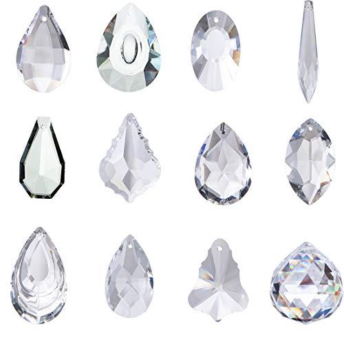 H&D, 24pendenti in cristallo trasparente per lampadario, a forma di gocce effetto prisma, acchiappasole per decorazione della casa