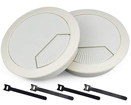 2 Stk Kabeldurchführung Schreibtisch Tülle 60 mm Kabellochabdeckung Weiß Kabeldurchlass Rund Kabelausgang für Büromöbel Tisch Wohnmobil Schreibtisch