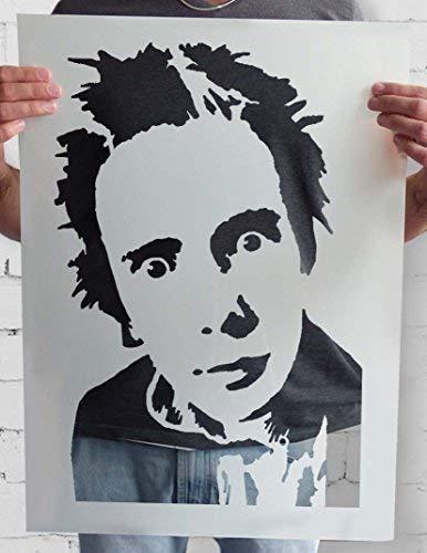 Johnny Rotten Sex Pistols Schablone Verschiedene Wandkunst Schablone Größen Retro Kult Bild Art Decor & Handwerk Farbe Leinwand Kunst, Wände, Stoffe, Möbel Wiederverwendbar Stempel - 17x25cm