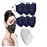 6PCS Reusable Face Màsc Sport/Office Bandanas+ 12 PCS Activated Carbon Filter Replacement Sheet, with Breathing valve (6pcs + 12Filter)