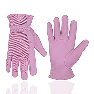 Pigskin Leather women Gardening Gloves,Stretchable Tough Working Glove,3D Mesh Comfort Fit?Comfort and Breathable Design for rose garden (Large, Pink)