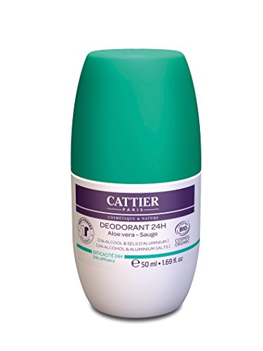 Cattier Deodorant Aloe Vera Salbei Roll-on, ohne Aluminiumsalze, zertifizierte Naturkosmetik, 50 ml