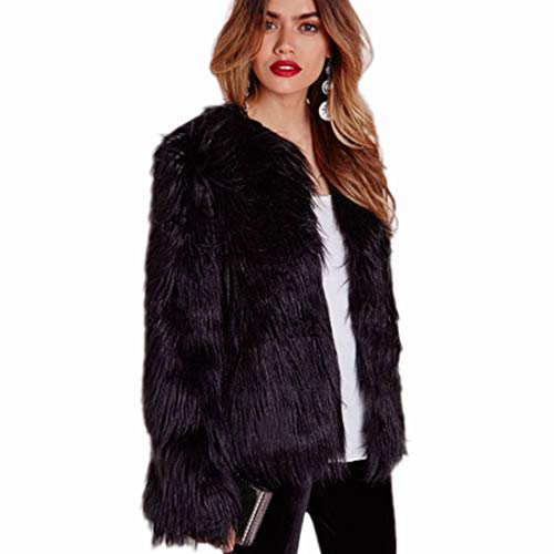 Women's Winter Warm Fluffy Faux Fur Coat Hooded Jacket Cardigan Outerwear Tops for Party Club Cocktail (Black,US 10(Slim Style) = Asian 2XL)