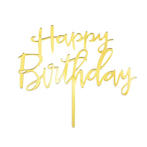 Oblique Unique® Torten Kuchen Topper Aufsatz Happy Birthday Geburtstag Jubiläum Deko Muffin Cupcake Dekoration Gold Roségold - Farbe wählbar (Gold)