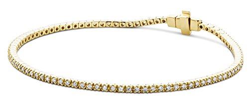 Miore Armband Damen 1.00 Ct Diamant Tennis Armband aus Gelbgold 9 Karat / 375 Gold, Armschmuck mit Diamanten Brillianten 19 cm lang