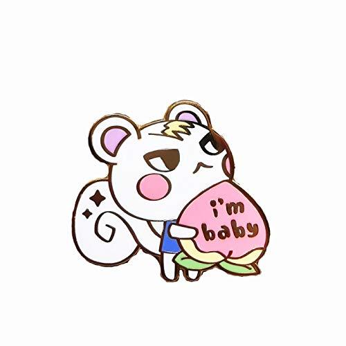 wangk Soy bebé Duro Pin Lindo Dibujos Animados Animales Ardilla Medalla broches joyería Animal Crossings Fans Accesorios de Regalo