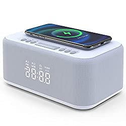 Radio Alarm Clock with Wireless Charging & USB Charger, Wireless Playback Speaker, Snooze, Dual Alarm, Dimmable LED Display Alarm Clock for Bedroom (White)
