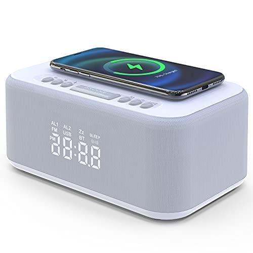 FM Radiowecker mit Kabelloser Ladestation, Drahtlose Wiedergabe, USB-Ladegerät, Snoozefunktion, LED Display mit 5-stufiger Dimmer, Digitaler Wecker ohne Ticken (weiß)