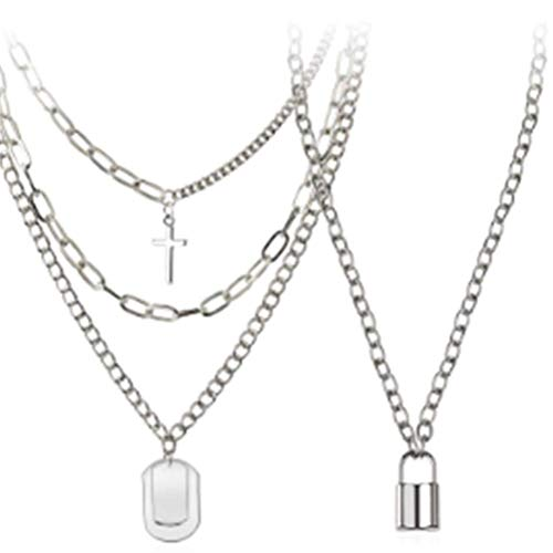 Concentric Lock Chain, 2Pcs Lock Chain Necklace Set, Alloy Multilayer Punk Statement Lock Pendant Necklace