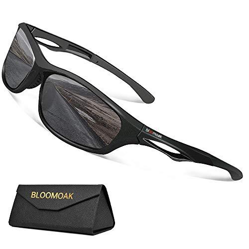 Bloomoak Gafas de sol deportivas polarizadas – Protección UV 400 / Tr90 Superlight Frame – Apto para correr, ciclismo, conducir, golf (lentes negras)