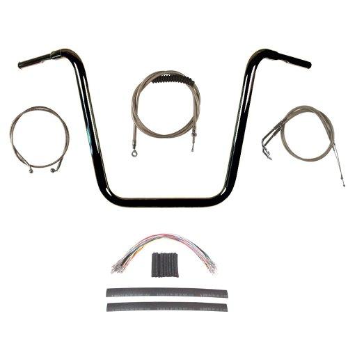 Hill Country Customs 1 1/4' G Black 18' Ape Hanger Handlebar Kit for 2008-2011 Harley Dyna Fat Bob models