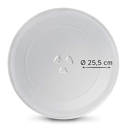 Drehteller für Mikrowelle 25,5 cm Mikrowellenteller 255 mm Glasteller Drehteller Ersatz Teller Glasplatte Glasdrehteller mit 3 Noppen für Mikrowellen