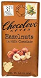 33% cocoa content Sweet and creamy Belgian milk chocolate Earthy bits of roasted Oregon hazelnuts deliver a gentle nutty finish