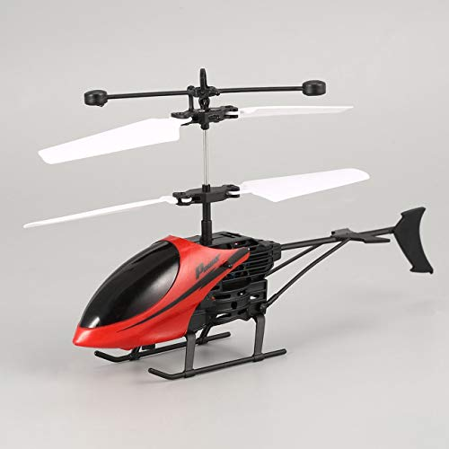 Ballylelly Drone Mini RC Avión Helicóptero Infrarrojo Inducción USB Helikopter de Control Remoto (Rojo)
