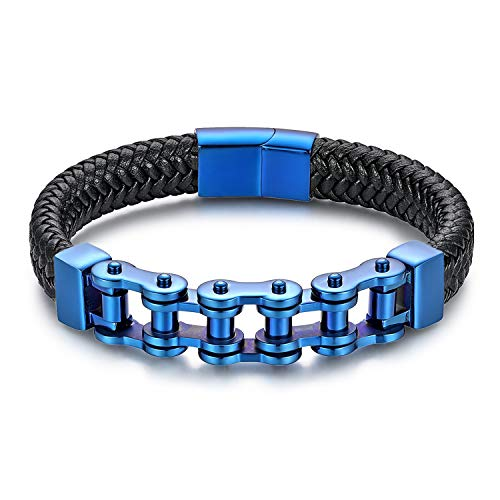 JewelryWe Schmuck Herren Lederarmband Edelstahl Fahrradkette Motorradkette Geflochten Leder Armband Armreif Blau Schwarz