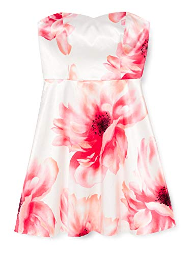 s.Oliver BLACK LABEL Damen Kleid 29705826540, Mehrfarbig (weiß/koralle) (01B1), 42