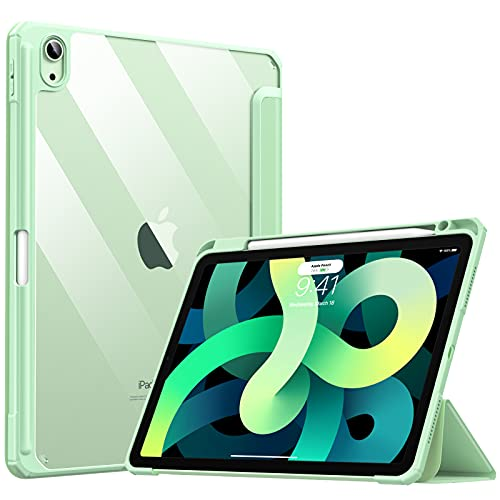 TiMOVO Hülle Kompatibel mit Neu iPad Air 4. Generation, iPad Air 4 Hülle (10.9 Zoll 2020), Mit Stifthalter Lederhülle Ständer Schutzhülle Unterstützt Touch ID Auto Schlaf/Wach Funktion - Grün