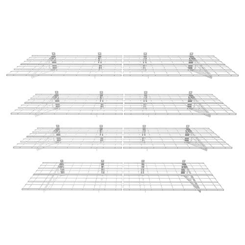 FLEXIMOUNTS 4-Pack Wall Shelf Garage Storage Rack Wall Mounted Floating Shelves (2x6 ft_4 pcs,White)