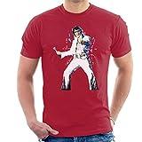 VINTRO Camiseta de Elvis Presley Hombres Original Portrait por Sidney Maurer (Rojo Cereza Antiguo,L)